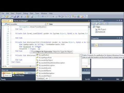 Visual Basic Tutorial - 53 - CType