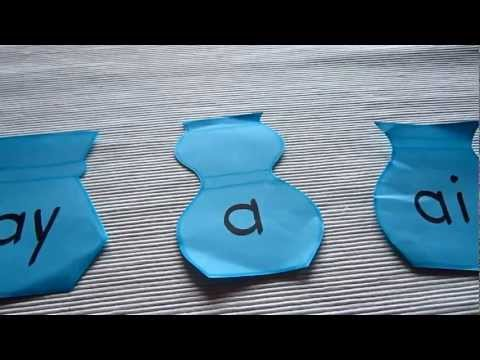 Preschool - Reading-Phonics-Spelling: flower vase game using sounds ai, ay, a.