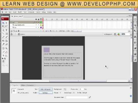 XML Magic Pages Web Site Tutorial for ActionScript 3 - Flash CS3 + CS4