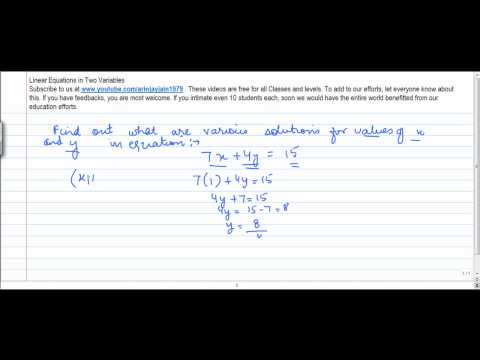1340. Mathemtatics Class ix   Linear equations in two variables   Find solutions to Linear equations
