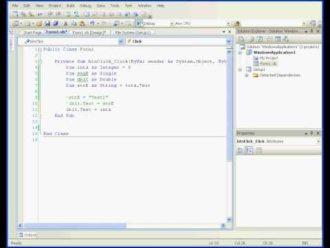 Visual Basic tutorial Variables