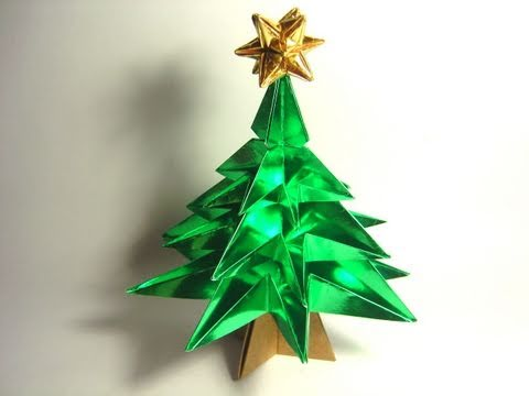 Origami Christmas Tree (variation by Jo Nakashima  - NO glue!)