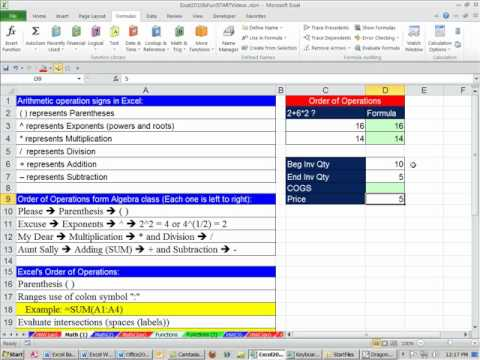 Office 2010 Class #22: Excel Formulas: Math Operators and Order Of Operations