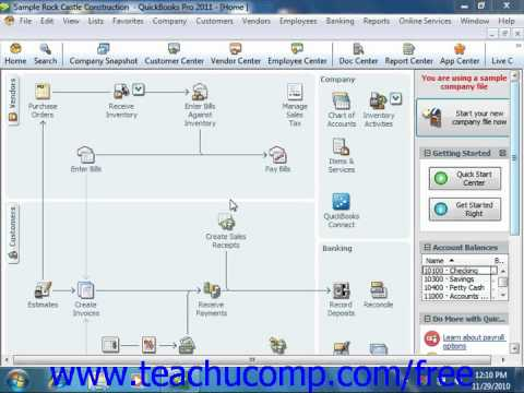 QuickBooks 2011 Tutorial Accounting Methods Intuit Training Lesson 1.10