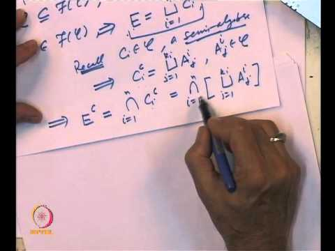 Mod-01 Lec-02 Algebra and Sigma Algebra of a subset of a set
