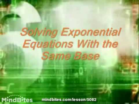 Exponents & Logs: Solve Exponential Equations
