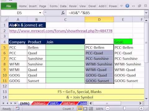 Excel Magic Trick 686: Fill Column & Concatenate With LOOKUP Last Word Expandable Range Trick