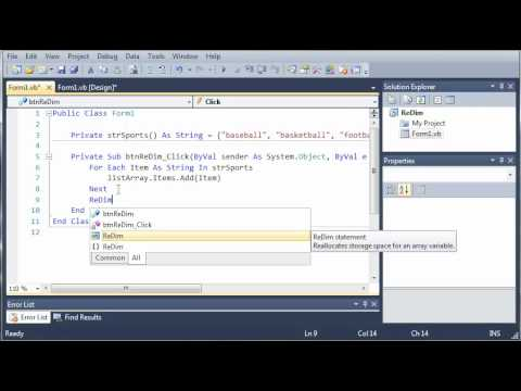Visual Basic Tutorial - 75 - Dynamic Arrays
