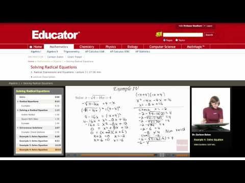 Algebra: Solving Radical Equations