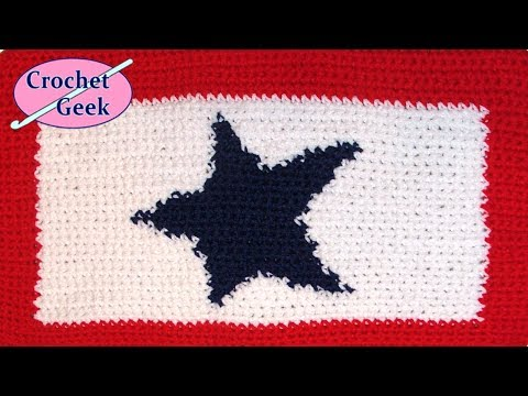 Crochet Blue Star Service Flag Tapestry