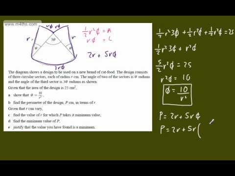 (e) Optimisation Core 2 Example 5 (Using trig) C2 optimization calculus