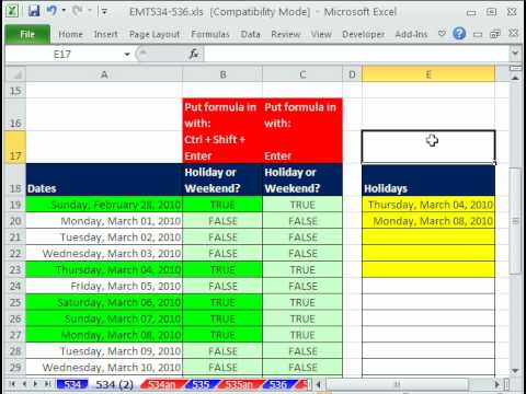 Excel Magic Trick 534: Conditional Formatting for Weekends and Holidays