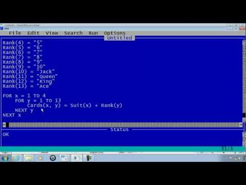 QBasic Tutorial 17 - 2 Dimensional Array - Matrix - QB64 - Deck Of Cards