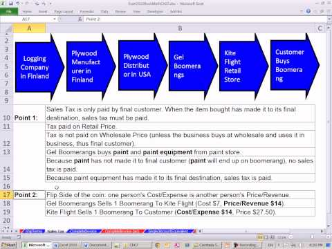 Excel 2010 Business Math 60: Sales Tax On Invoices: Retail and Wholesale