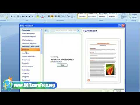 Word 2007 Tutorial: New Document