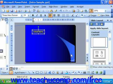 PowerPoint 2003 Tutorial Inserting a Text Box Microsoft Training Lesson 6.3