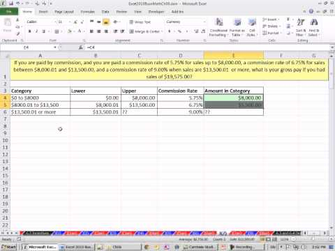Excel 2010 Business Math 52: Variable Commission Rates, Multiple Step Method