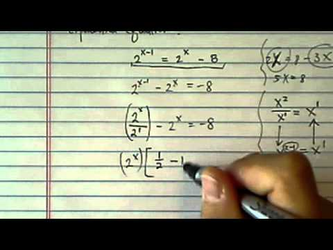 *Log & Exponential Equations: 2^(X-1) = 2^(x) - 8