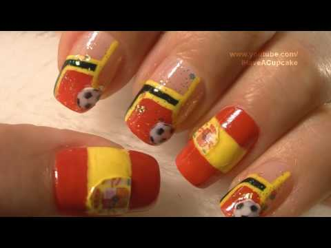 World Cup Spain Nail Art Tutorial / FIFA Mundial Espana Arte para las unas