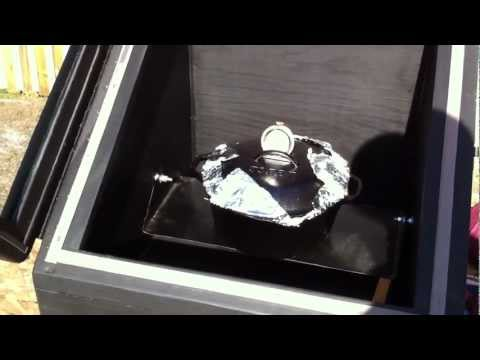 Solar oven cooking.