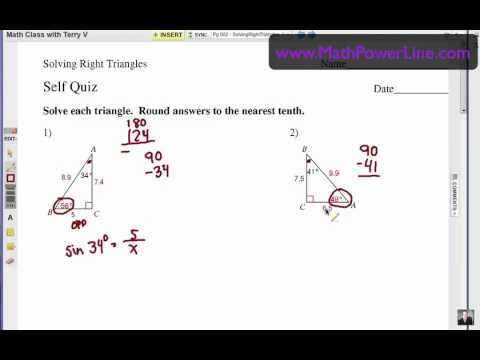 How to Solve Right Triangles: Self Quiz