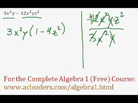 (Algebra 1) Polynomials - Factoring Polynomials Completely - Question #6