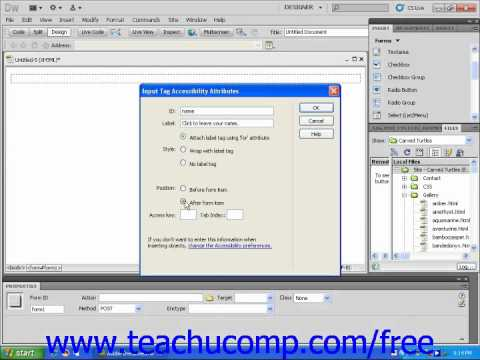 Dreamweaver CS5 Tutorial Inserting Radio Buttons into Forms Adobe Training Lesson 10.11