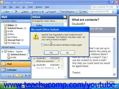 Outlook 2003 Tutorial Setting Message Options Microsoft Training Lesson 3.20