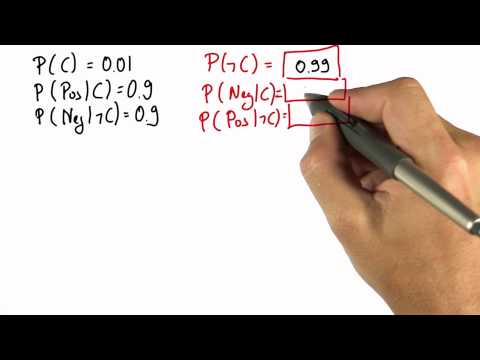 Cancer Probabilities Solution - Intro to Statistics - Bayes Rule - Udacity