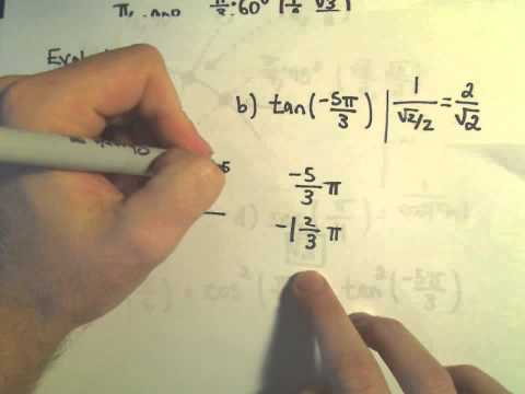 Evaluating Trigonometric Functions at Important Angles, Ex 1