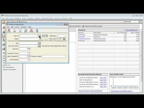 Sage Peachtree Pro Accounting 2009 VENDORS & INVENTORY Taking Inventory & Adjusting Quantity