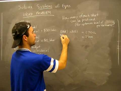 Solving Systems of Equations WORD PROBLEM 4: Substitution, Elimination Method Algebra Math Help