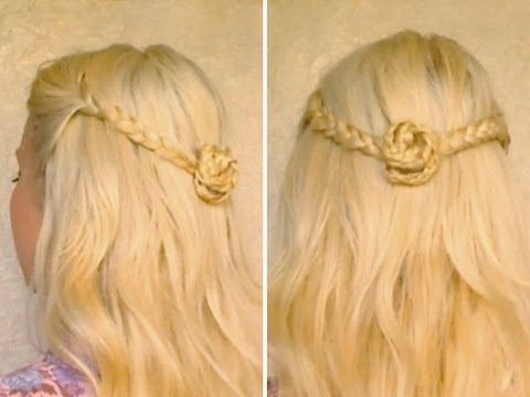 Easy half up half down hairstyles for long hair tutorial Romantic braided flower everyday half updo