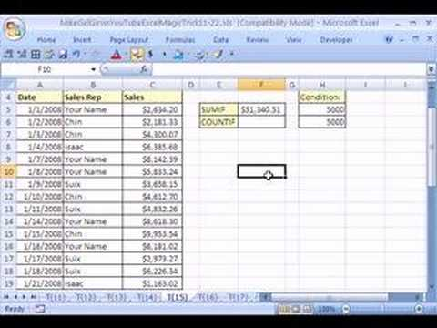 Excel Magic Trick #15: SUM or COUNT Above Some Limit!