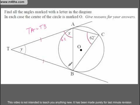 (Q292) A Star GCSE Revision Circle Theorem (slighty harder example 2)