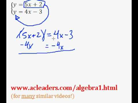 Systems of Equations - Solving by Substitution. EASY!!! (pt. 1)