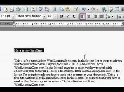 Microsoft Word: Columns