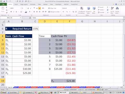 Excel Finance Class 61: Stock Value Based on Present Value of Future Dividend Cash Flows.