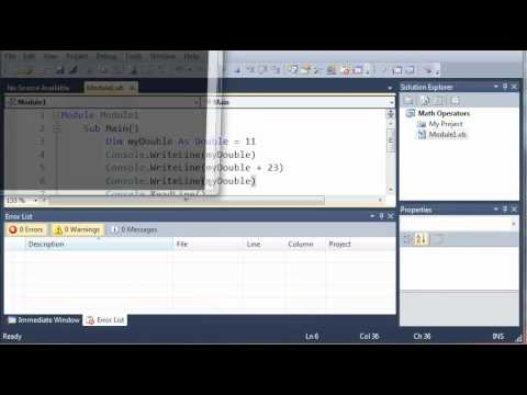 Visual Basic Tutorial - 10 - More On Math Operators