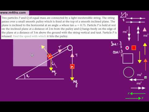 (6) M1 Connected Particles Edexcel (Particles on smooth inclined plane)