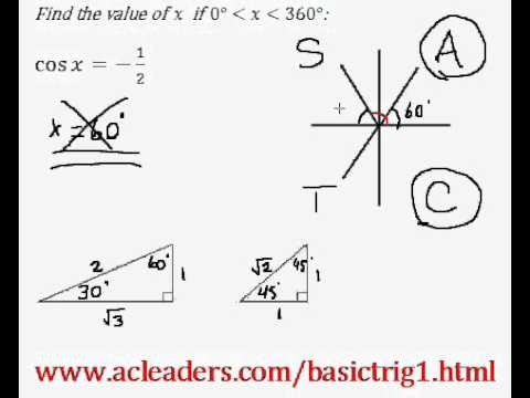 Basic Trig - Simple trig equation (solving for 'x') - EASY Solution!!!!! (Pt.2)