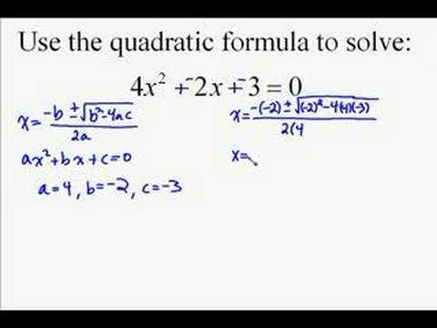A19.13 Quadratic Formula