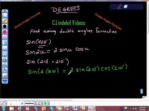 Double Angles Formulas Sine 420 Degrees Example Trigonometry Geometry