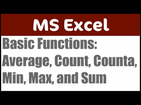 Basic Functions in Excel
