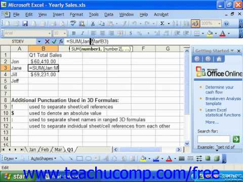 Excel 2003 Tutorial Creating 3D Range References Microsoft Training Lesson 12.3