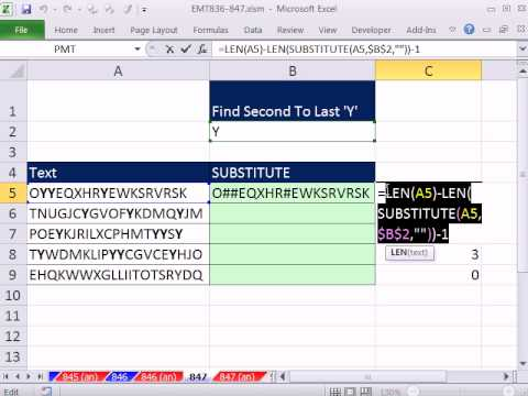 "Excel Magic Trick 847: Position Of Penultimate ""Y"" In A Text String"
