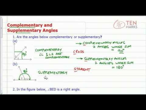 Angles - Complementary and Supplementary