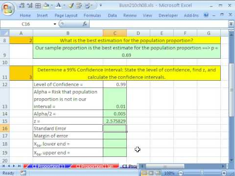 Excel Statistics 86: Confidence Intervals for Proportions #2