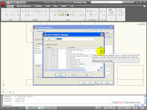 AutoCAD Tutorials - Using the Linetype Manager