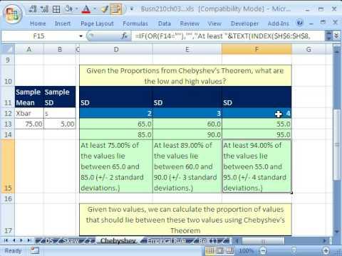Excel & Statistics 46: Chebyshev's Theorem
